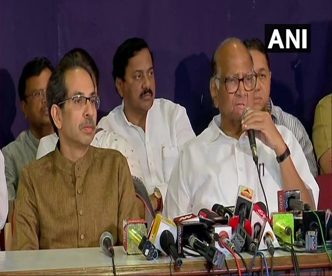 Maha Govt Formation | 'Ajit Pawar's decision against party line and indiscipline': Sharad Pawar at joint PC with Sena chief