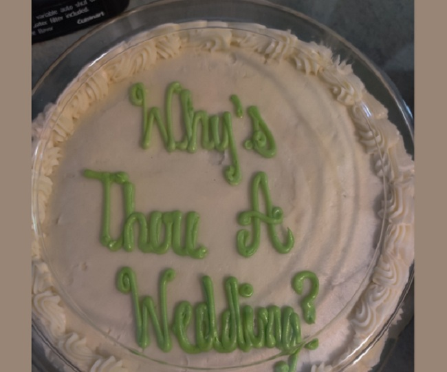 Internet's reaction to wrong text on wedding cake will leave you in splits