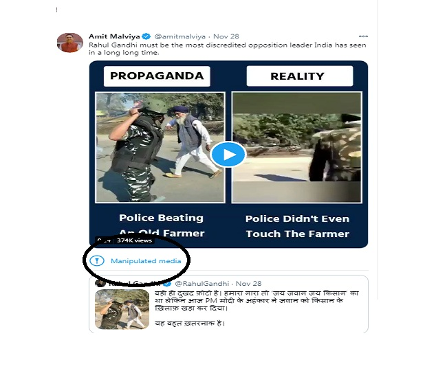 'Manipulated Media': In a first, Twitter flags Amit Malviya's 'Propaganda vs Reality' tweet on farmers' protest as fake