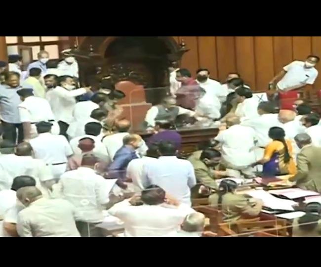 Watch | Congress MLCs forcefully remove Karnataka legislative council chairman following uproar
