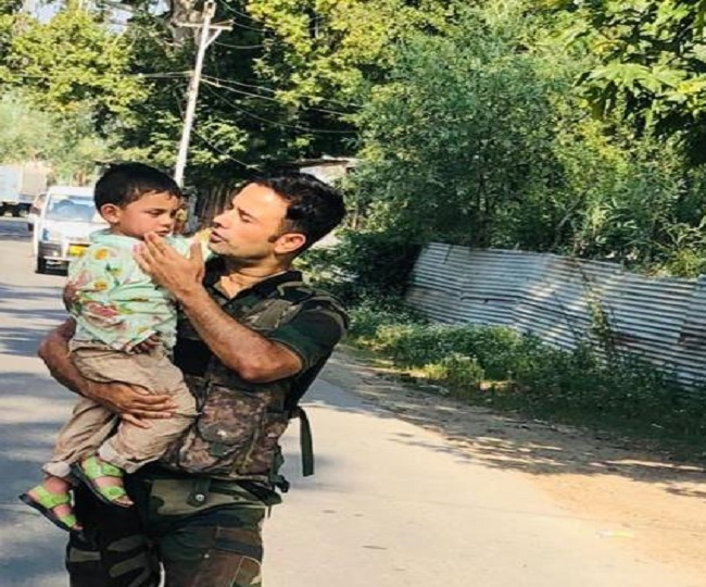 Sopore Terror Attack: Forces save 3-year-old from bullets, video shows boy crying on grandfather's death | Watch