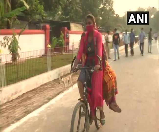 Bihar Elections 2020: First-time voter along with her grandmother arrive at Patna polling booth on bicycle | See Pics