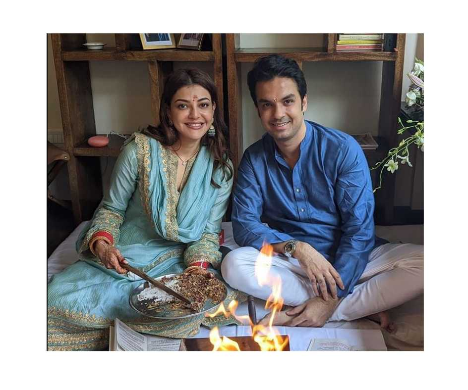 Karwa Chauth 2020: Kajal Aggarwal all set for first Karwa Chauth, husband Gautam Kitchlu gets heena on his hands |See Photos