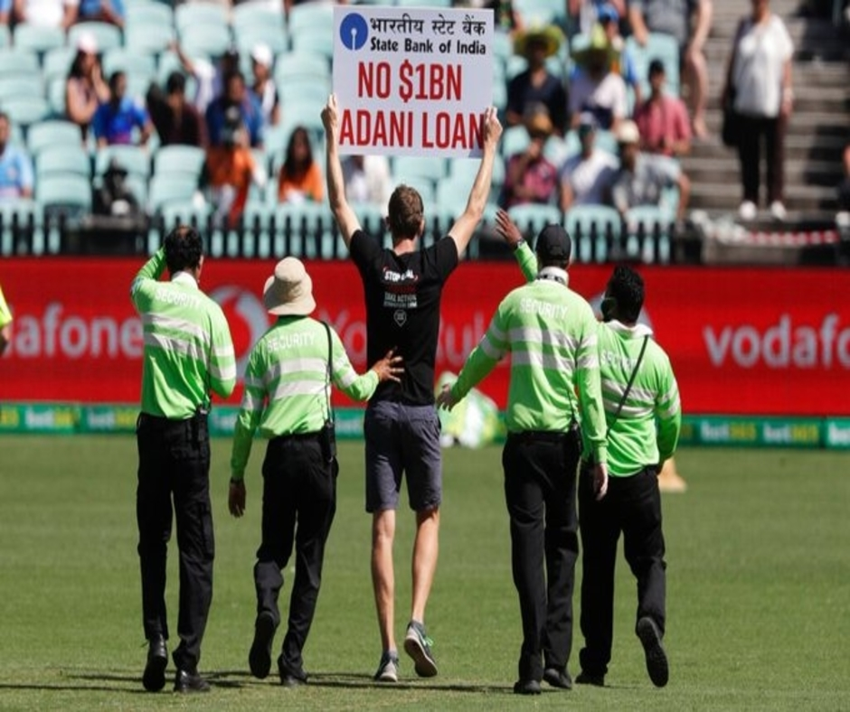 India vs Australia 1st ODI: Spectators invade ground holding 'No $1BN Adani Loan' placards