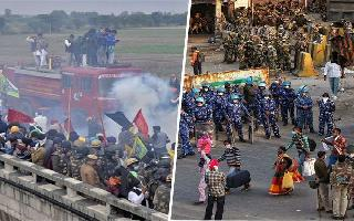 Delhi borders turn battleground as cops use water cannons, tear gas, barriers to stop protesting farmers | WATCH