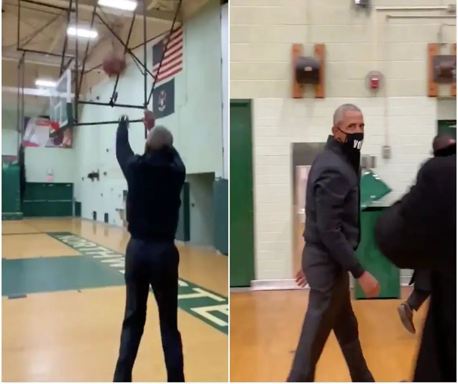 Viral Video: Barack Obama nails flawless three-pointer while campaigning for Joe Biden in Michigan