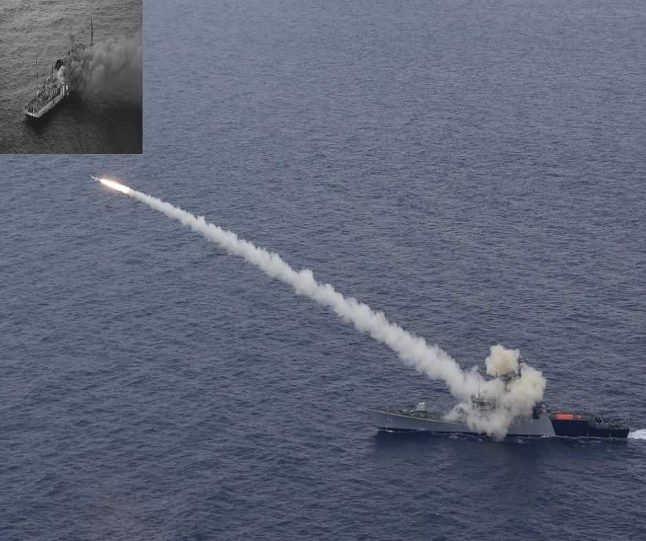 In Pics: Target ship in flames after being hit by Indian Navy's Guided Missile Corvette INS Kora