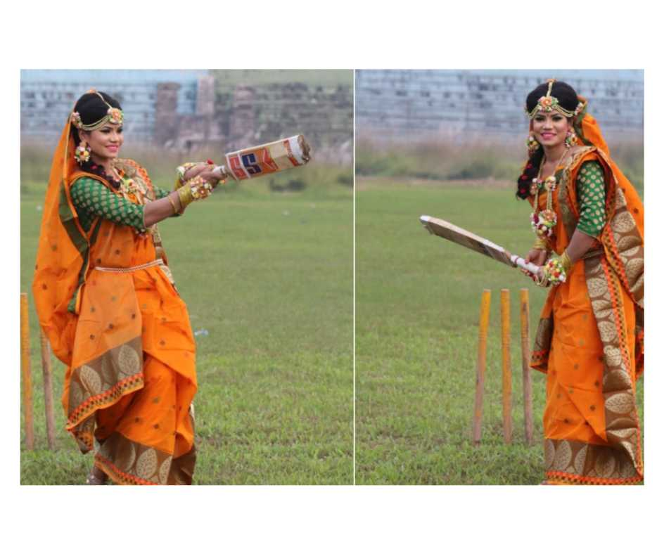 Wedding photoshoot that has bowled us over! Bangladeshi cricketer strikes a pose with bat, netizens hail her passion