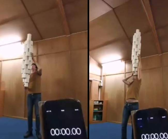 WATCH: UK man smashes Guinness World Record as he balances 46 toilet rolls on his head