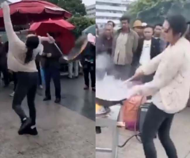Woman flexes moves on Gangnam Style while cooking noodles, leaves netizens inspired   WATCH