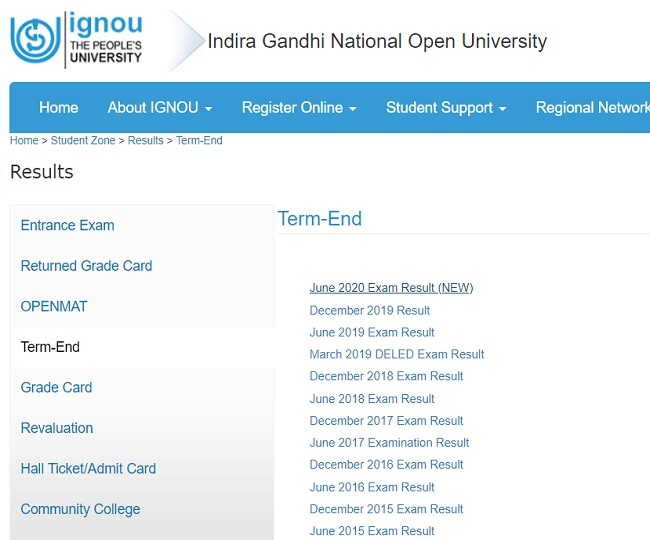 IGNOU June TEE Result 2020 Declared: IGNOU released June term end exam results; check steps to download