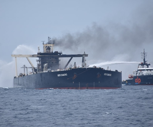 Fresh fire hits Indian supertanker MT New Diamond while being escorted