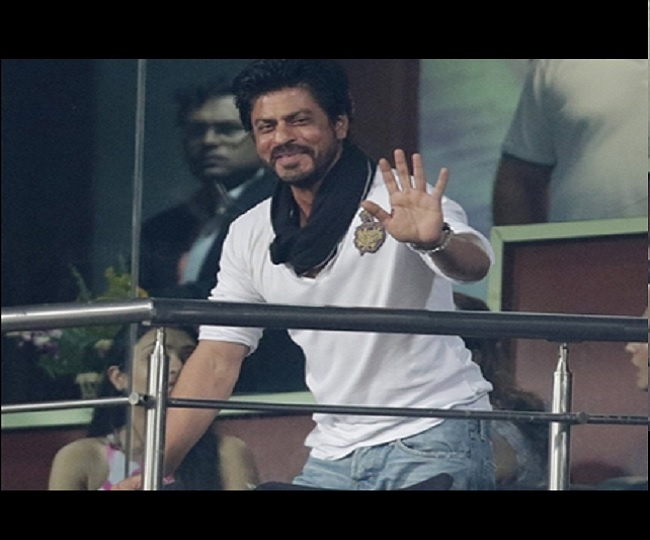 Shah Rukh Khan cheers from stands for KKR in Dubai