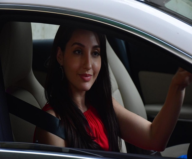 In pics: Nora Fatehi spotted at Bandra, see hot pictures of the actress in red gown