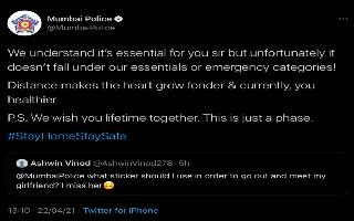 Mumbai Police's epic reply to man asking to meet his girlfriend amidst COVID crisis is heartwarming