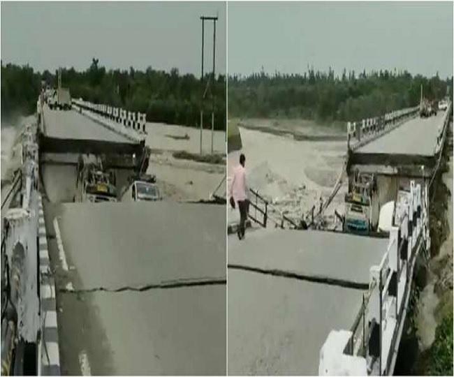 WATCH: Rani Pokhari bridge on Dehradun-Rishikesh highway collapses due to heavy rains