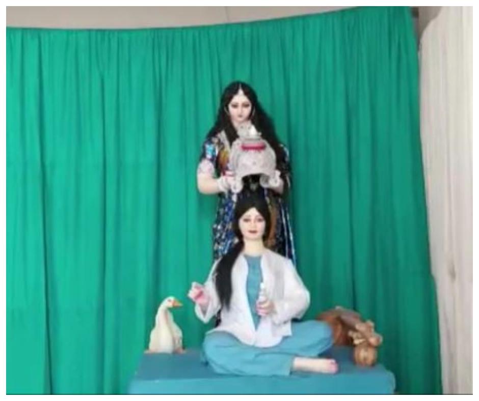 Amidst COVID-19 pandemic Bengali Pandal showcases Goddess Saraswati crowning a healthcare worker on Basant Panchami 2021