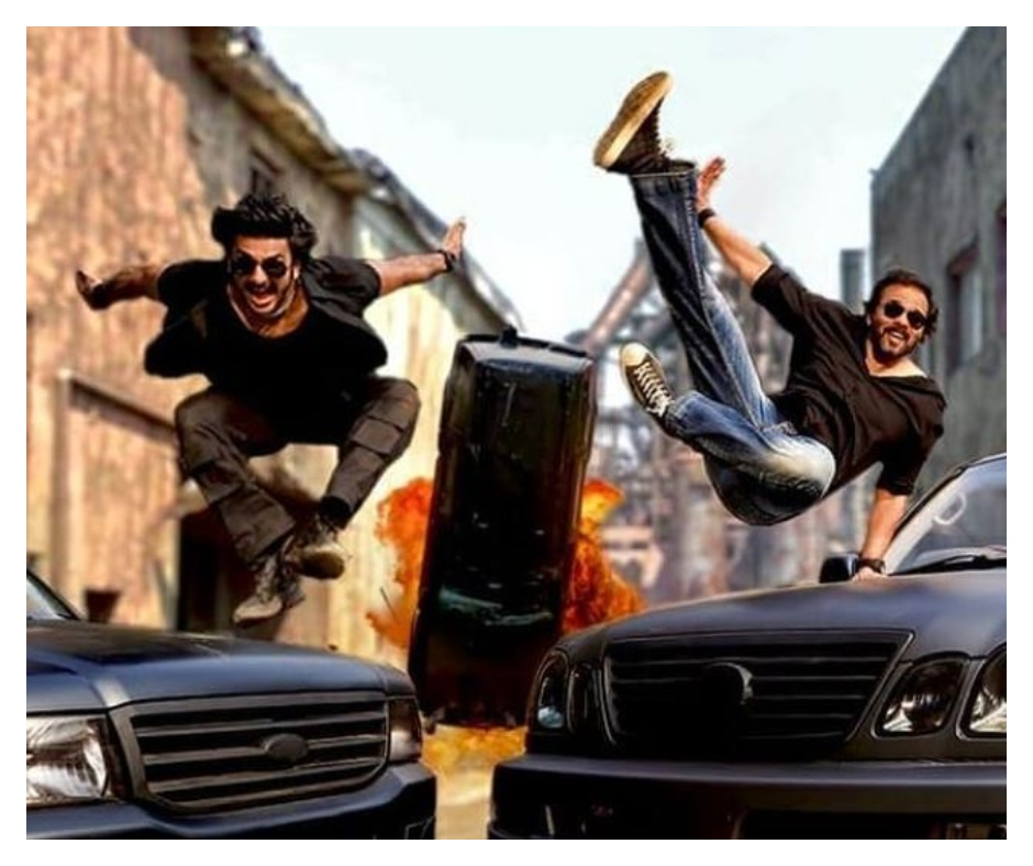 Ranveer Singh shares a pic from noodle commercial featuring Rohit Shetty's iconic car flying scene