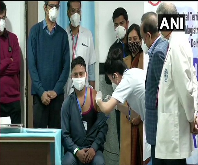 COVID-19 Vaccination: Sanitation worker in Delhi becomes first Indian to receive vaccine jab at AIIMS | Watch