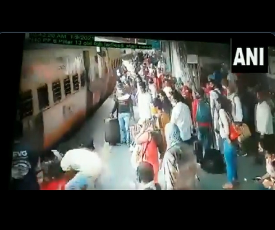 Caught on Camera: Brave railway officials save woman from being run over by train in Maharashtra's Thane