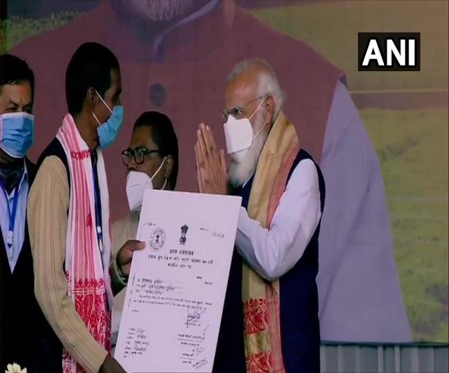 Ahead of Assam polls, PM Modi distributes land allotment certificates to 1.06 lakh indigenous Assamese families
