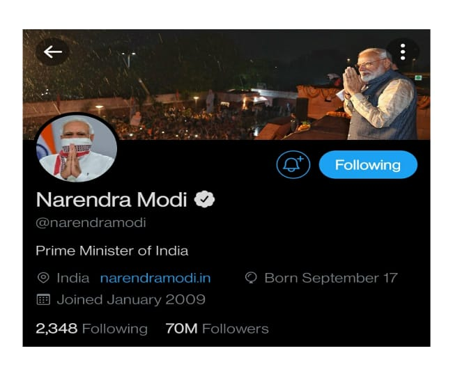 PM Modi becomes only world leader in office to reach 70m Twitter followers