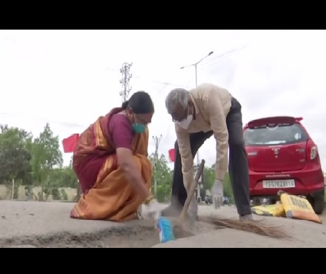 Old couple in Hyderabad turns car into 'pothole ambulance'; shells out pension to fix roads