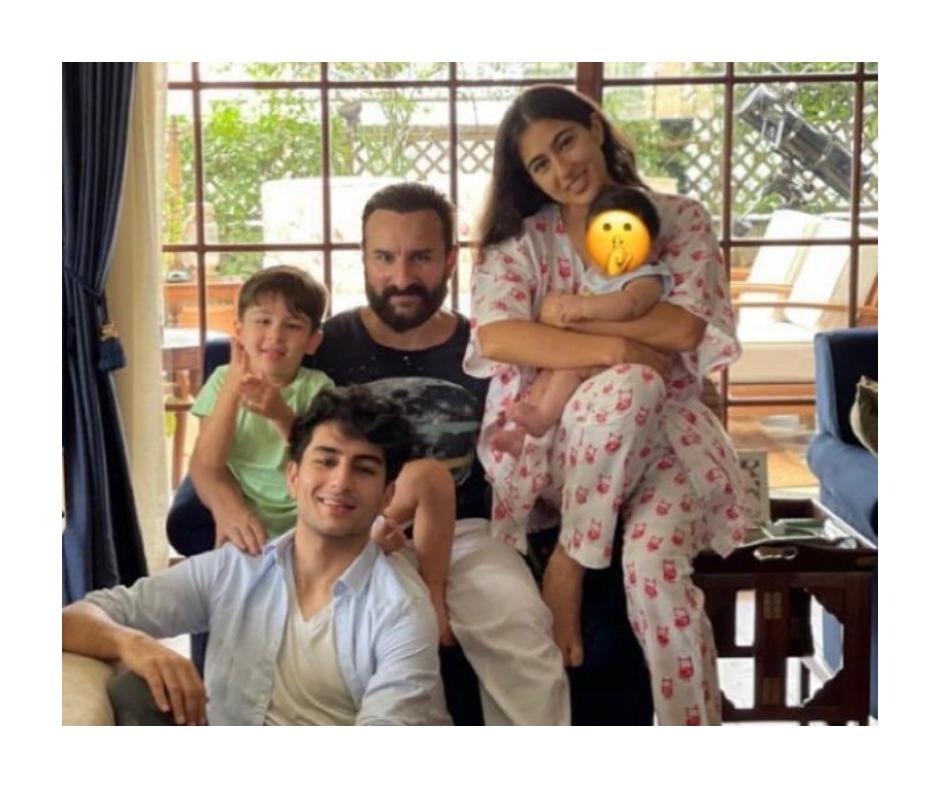 Sara Ali Khan cuddles Saif and Kareena's newborn son Jeh in Eid celebration pic; Taimur and Ibrahim spotted too | See photo