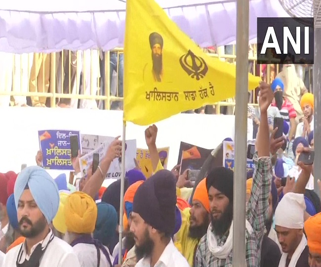 On Operation Blue Star's 37th anniversary, Khalistani flags, portraits of Jarnail Bhindranwale seen in Amritsar