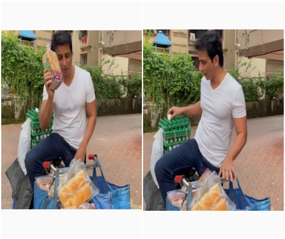 WATCH: Sonu Sood sells bread, eggs on bicycle as he promotes his 'supermarket' to help pandemic-hit businesses