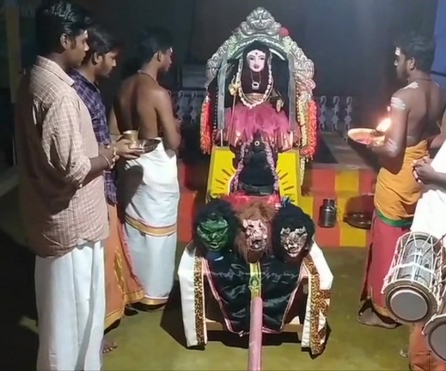 A temple for 'Corona Devi' comes up in Tamil Nadu