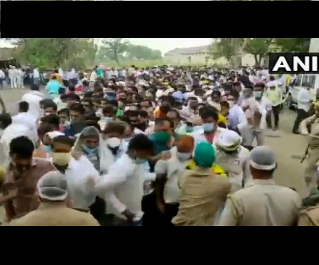 UP Panchayat Election Results 2021 | WATCH: Counting agents violate COVID norms in Firozabad, police struggle to handle crowd
