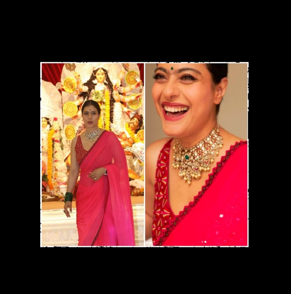 Navratri 2021: Kajol steps out in bright pink silk saree to celebrate Mahasaptami with family in Mumbai | See pics