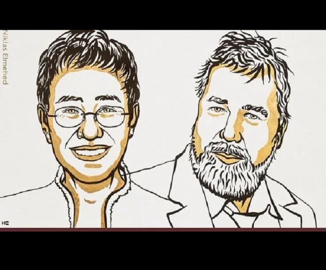 2021 Nobel Peace Prize awarded to journalists Maria Ressa, Dmitry Muratov