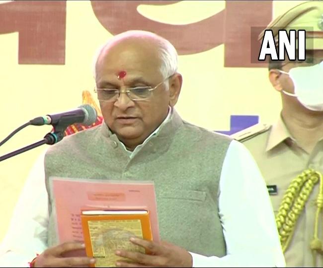 Bhupendra Patel, BJP MLA from Ghatlodia, takes oath as 17th Gujarat CM; PM Modi congratulates