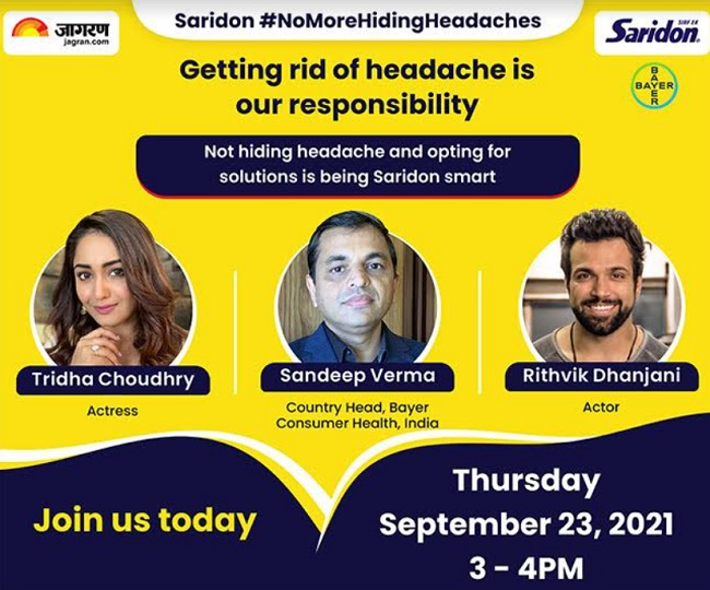 Tune in today to hear Rithvik Dhanjani and Tridha Choudhry speak at a virtual discussion on Saridon's #NoMoreHidingHeadaches
